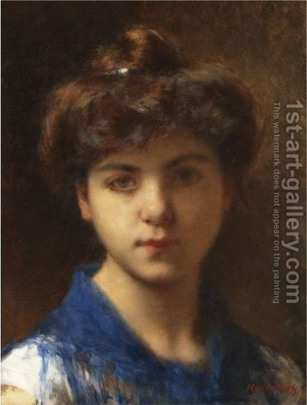 Portrait Of A Young Girl 4 by Alexei Alexeivich Harlamoff - Reproduction Oil Painting