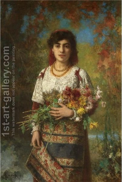 Gypsy Girl With Flowers by Alexei Alexeivich Harlamoff - Reproduction Oil Painting