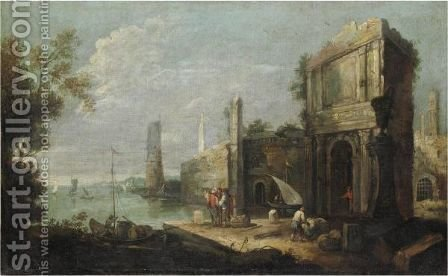 Marina Con Capriccio Architettonico, Figure E Imbarcazioni by (after) Bartolomeo Pedon - Reproduction Oil Painting
