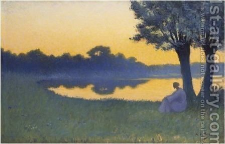Au Coucher Du Soleil by Alphonse Osbert - Reproduction Oil Painting
