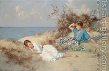 On The Beach by Hermann Seeger - Reproduction Oil Painting