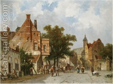 Dutch Market Square by Adrianus Eversen - Reproduction Oil Painting