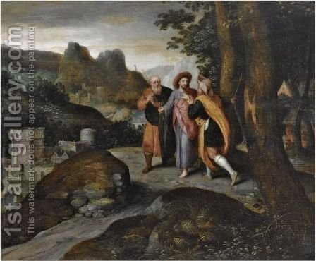 The Road To Emmaus by (after) Gillis Mostaert - Reproduction Oil Painting