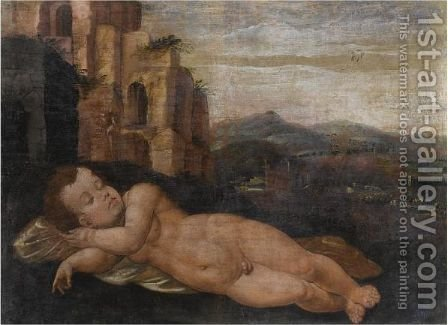 Sleeping Cupid In A Landscape With Classical Ruins by (after) Jan Van Scorel - Reproduction Oil Painting