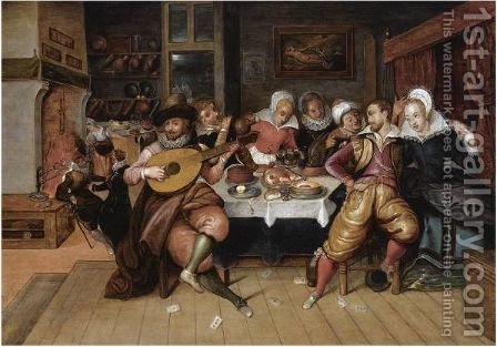An Elegant Company Making Merry While Eating And Drinking Around A Table In An Interior by (after) Louis De Caullery - Reproduction Oil Painting
