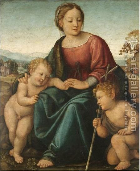 The Madonna And Child With The Infant Saint John The Baptist 3 by (after) Raphael (Raffaello Sanzio of Urbino) - Reproduction Oil Painting