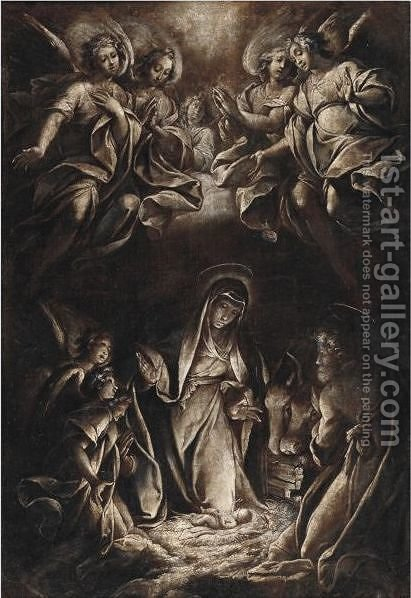 The Adoration Of The Infant Christ by (after) Camillo Procaccini - Reproduction Oil Painting