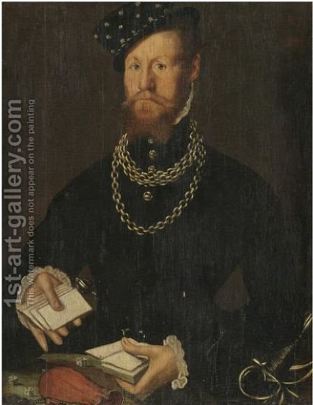 Portrait Of A Gentleman, Half Length, Wearing Black And Holding A Pack Of Cards by (after) Steven Van Der Meulen - Reproduction Oil Painting