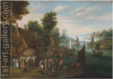 A River Landscape With Fisherman Unloading Their Catch Near A Village by (after) Jan The Elder Brueghel - Reproduction Oil Painting