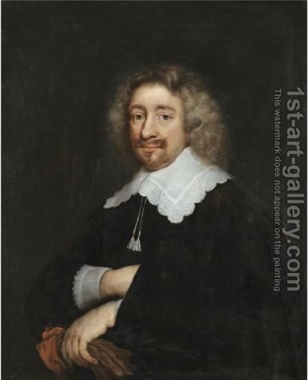 Portrait Of A Man, Half Length, Wearing A Black Tunic With Embroidered Collar And Cuffs, Holding A Pair Of Gloves by (after) Abraham De Vries - Reproduction Oil Painting