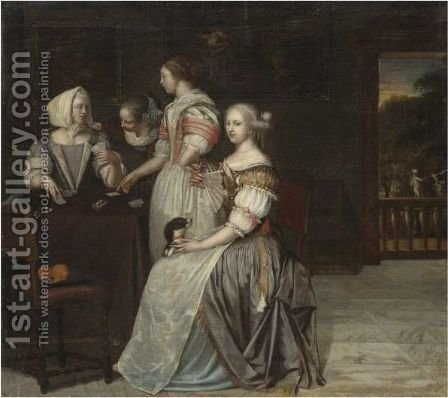 An Interior With A Company Of Elegant Ladies Playing Cards, A Balustrade With A Landscape Beyond by (after) Eglon Van Der Neer - Reproduction Oil Painting