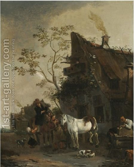 A Village Scene With Figures Outside A Farrier's Shop by (after) Thomas Wyck - Reproduction Oil Painting