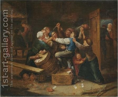 A Tavern Brawl by (after) Gillis Van Tilborgh - Reproduction Oil Painting