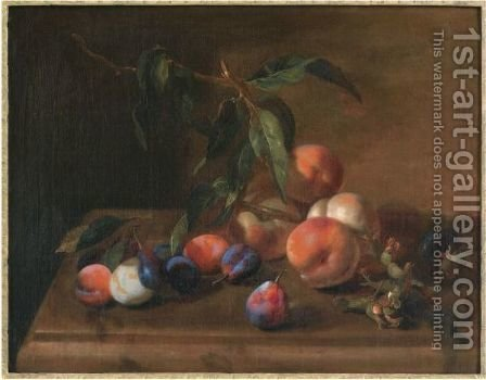 A Still Life With Peaches, Plums And Hazelnuts On A Wooden Table by (after) Jacques Charles Oudry - Reproduction Oil Painting