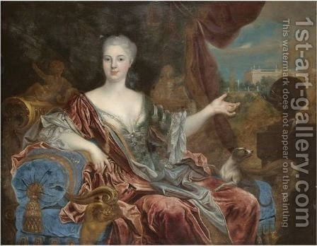 Portrait Of A Lady, Three-Quarter Length, Wearing A Blue Silk Dress With Lace Trim And A Red Shawl, Seated On A Blue Chaise Longue by (after) Nicolas De Largillierre - Reproduction Oil Painting