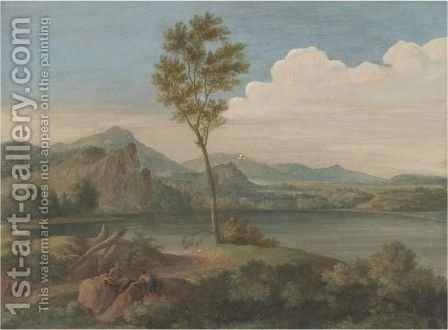 An Arcadian Landscape With Two Figures Resting In The Foreground, Figures Boating In A River Beyond by (after) Jan Frans Van Orizzonte (see Bloemen) - Reproduction Oil Painting