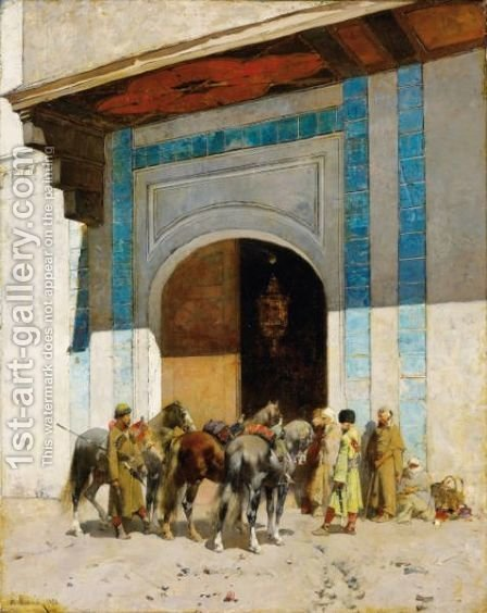 In Front Of The Mosque by Alberto Pasini - Reproduction Oil Painting