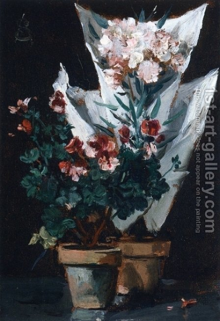 Still Life With Potted Geraniums by Alfred Stevens - Reproduction Oil Painting