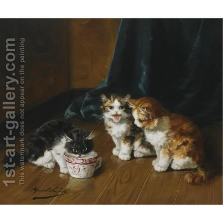 Drinking Kittens by Alphonse de Neuville - Reproduction Oil Painting