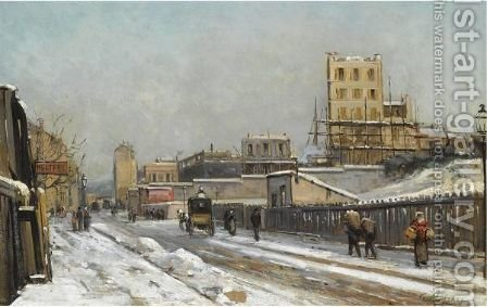 The Outskirts Of Paris In Winter Time by Gustave Mascart - Reproduction Oil Painting