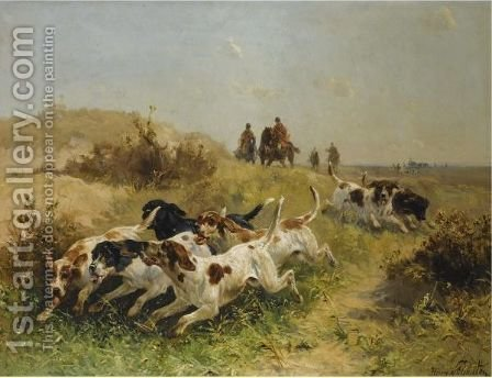 A Hunting Scene, Setters On The Scent by Henry Schouten - Reproduction Oil Painting