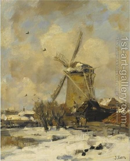 A Windmill In A Winter Landscape by Jacob Henricus Maris - Reproduction Oil Painting