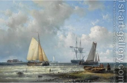Dutch Barges In A Calm by Abraham Hulk Jun. - Reproduction Oil Painting