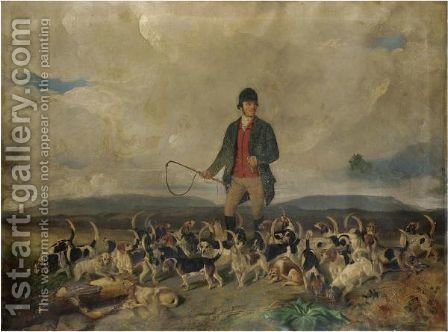 A Huntsman And His Pack Of Beagles by (after) Charles Bilger Spalding - Reproduction Oil Painting