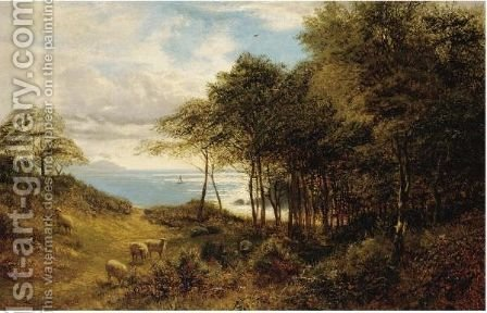 Sheep Grazing By The Sea by Alfred Glendening - Reproduction Oil Painting