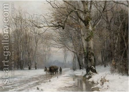 Winter Landscape With A Horse-Drawn Cart by Anders Anderson-Lundby - Reproduction Oil Painting