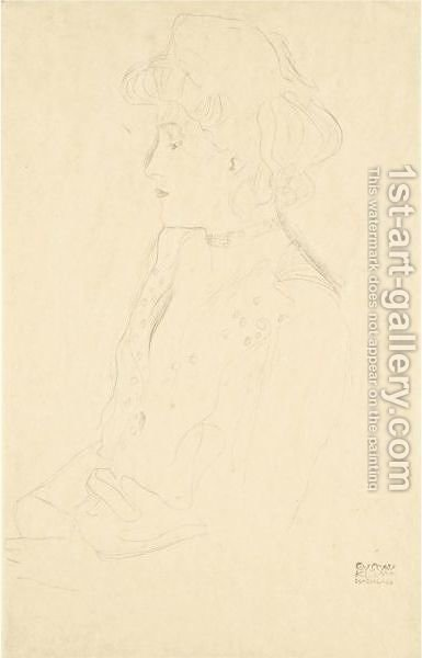 Brustbild Im Profil Nach Links (Woman In Profile Facing Left) by Gustav Klimt - Reproduction Oil Painting