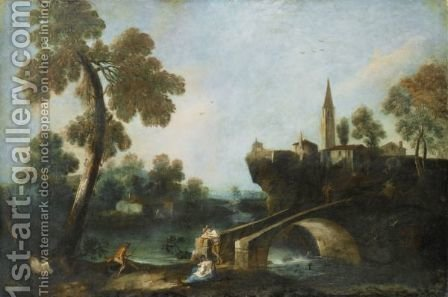 Fishermen And A Young Woman By A River, A Village Beyond by (after) Antonio Diziani - Reproduction Oil Painting