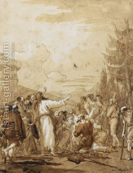 Le Christ Guerissant Les Lepreux by Giovanni Domenico Tiepolo - Reproduction Oil Painting