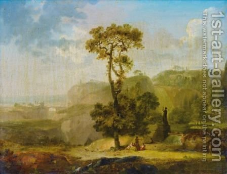 Paysages Classiques Animes De Personnages by (after) Jean Baptiste Genillion - Reproduction Oil Painting