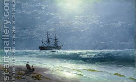 Moonlit Landing by Ivan Konstantinovich Aivazovsky - Reproduction Oil Painting