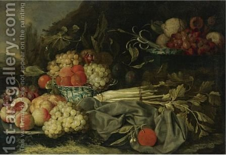 Still Life With Peaches, Grapes And Chinese Porcelain Bowl by (after) Cornelis De Heem - Reproduction Oil Painting