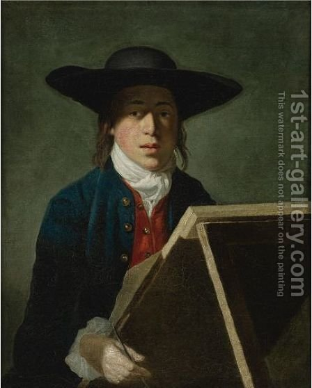 Portrait Of George Morland When A Young Man (At An Easel) by Henry Robert Morland - Reproduction Oil Painting