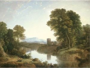 Landscape With River And Castle Ruin Beyond