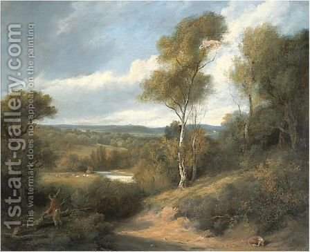 View Taken From The Grounds At Bromley Hill, Kent by Amelia Lady Farnborough - Reproduction Oil Painting