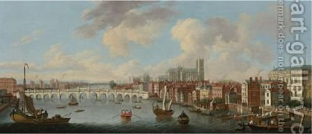 View Of The Thames And Old Westminster Bridge Looking Towards Westminster Abbey by (after) Joseph Nicholls - Reproduction Oil Painting