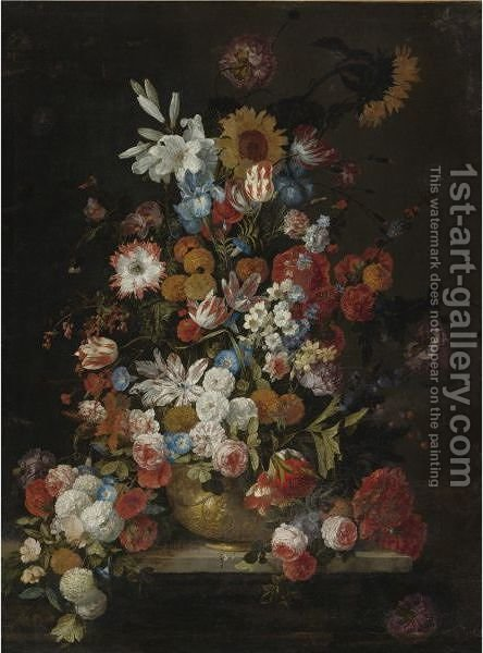 Still Life Of Roses, Tulips, Morning Glories, Irises, Carnations, Lilies, Snowballs, A Sunflower And Other Flowers, In A Sculpted Vase Resting On A Ledge by Hieronymus Galle I - Reproduction Oil Painting
