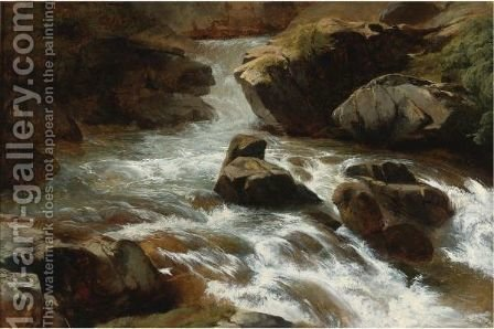 A Rocky Stream With Rapids by Alexandre Calame - Reproduction Oil Painting