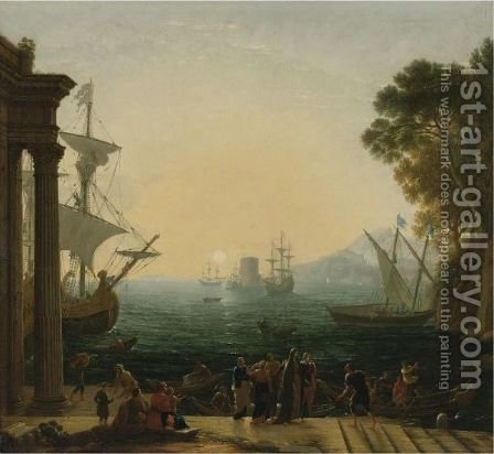 The Embarkation Of Saint Paula by (after) Claude Lorrain (Claude Gellee) - Reproduction Oil Painting