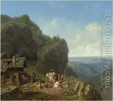Tavern In The Alps by Heinrich Bürkel - Reproduction Oil Painting