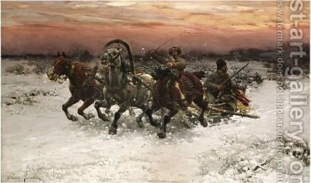 Troika Pursued By Wolves by Alfred Wierusz-Kowalski - Reproduction Oil Painting