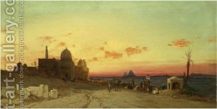 A View Of The Tomb Of The Caliphs With The Pyramids Of Giza Beyond, Cairo by Hermann David Solomon Corrodi - Reproduction Oil Painting