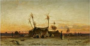 Reproduction oil paintings - Hermann David Solomon Corrodi - An Arab Encampment At Sunset