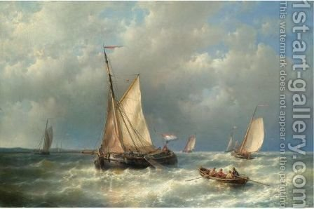 Stormy Sea With Ships by Abraham Hulk Snr - Reproduction Oil Painting