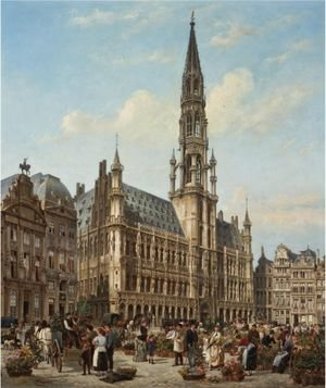 Famous paintings of Squares and Piazzas: The Flower Market In The Grande Place, Brussels