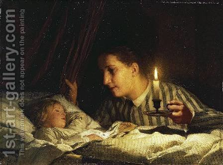 Young Mother Watching Her Sleeping Child By The Candlelight by Albert Anker - Reproduction Oil Painting